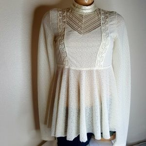 Free People cream lace high neck peplum top S